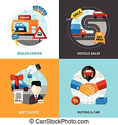 venta coche, 2x2, diseño, concepto