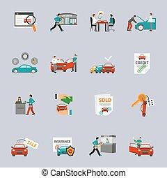 venta coche, conjunto, icono