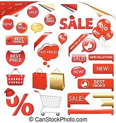 venta, colección, insignias