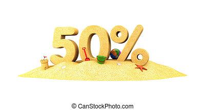 venta, estación, -, 50%, -, el, dígitos, de, sand., 3d, ilustración