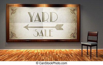 venta garage, vendimia, señal de dirección, en, pasado de moda, marco