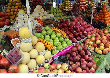 venta, granjero, asiático, fruits, fresco, mercado