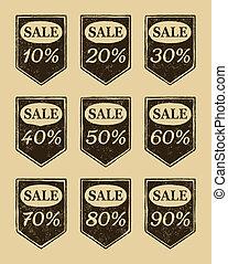 venta, iconos, vendimia, conjunto