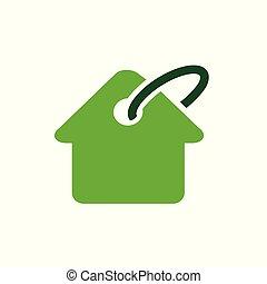 venta, ilustración, vector, diseño, hogar, icono, logotipo