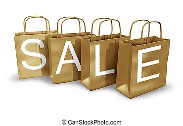venta, marrón, bolsas de compras