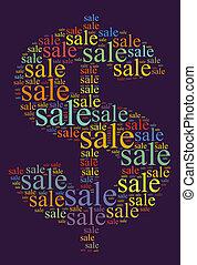venta, palabra, nube, concepto
