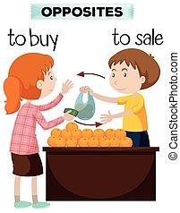 venta, palabras, comprar, contrario