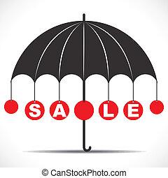 venta, paraguas, texto
