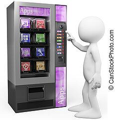 venta, personas., apps, máquina, blanco, 3d