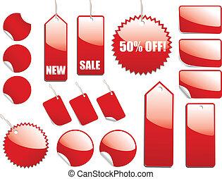 venta, rojo, etiquetas