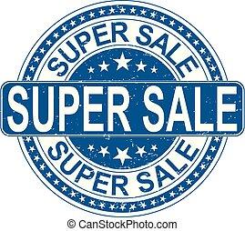venta, súper, señal, estampilla, fondo blanco, internet, ...