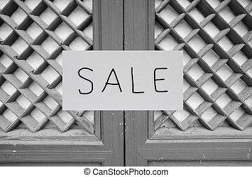 venta, signo bienes raíces, delante de, casa