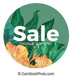 venta, tropical, verano, anuncio, con, magnífico, flores, en, círculo