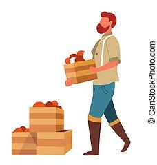 venta, vegetales, cajas, proceso de llevar, granjero, ...