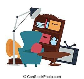 venta, venta, segundo, muebles, mano, garaje, bienes