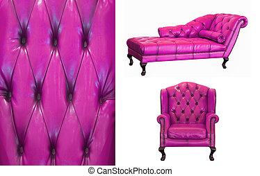 ventage, viooltje, leder, meubel, op wit, achtergrond