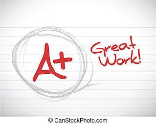 ventaja, grade., grande, work., ilustración, diseño