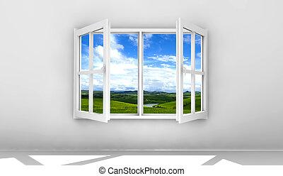 ventana, abierto