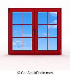 ventana, cerrado, plástico