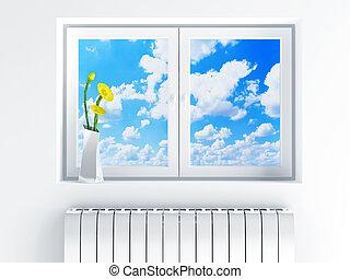 ventana, con, cielo nublado, y, flores, en, solera