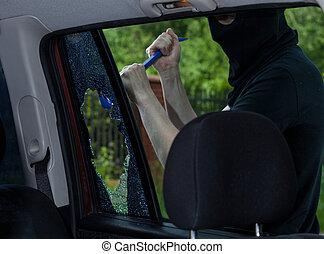 ventana de coche, rotura, ladrón, palanca