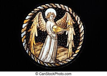 ventana de cristal, manchado, ángel