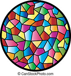 ventana de cristal, manchado, circular