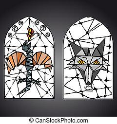 ventana de cristal, vector, manchado