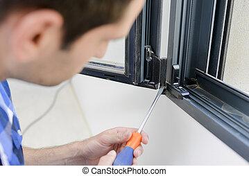 ventana, el atornillar, marco