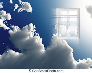 ventana, en, cielo