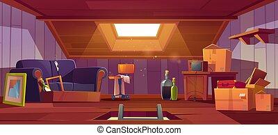 ventana, escotilla, escalera, habitación, cosas, ático, viejo