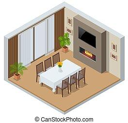 ventana, furniture., elegante, isométrico, habitación, fireplace., cocina, televisión, moderno, cenar