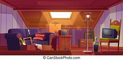 ventana, guardilla, viejo, techo, habitación, ático, cosas