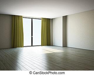 ventana, habitación, vacío