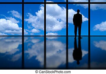 ventana, highrise, hombre de negocios