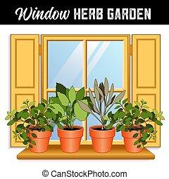 ventana, jardín de hierba