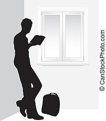 ventana, libro, lectura, hombre