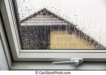 ventana, Lluvia, techo