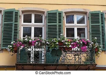 ventana, macetas, obturadores