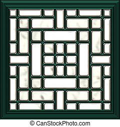 ventana, mosaico