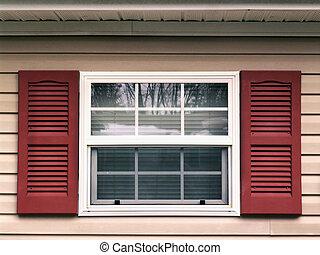 ventana, obturadores