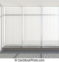 ventana, persianas, vertical, tela