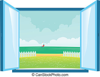 ventana, playa, vista