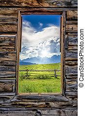 ventana, por, tetons, cabaña, vista