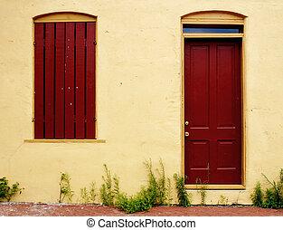ventana, puerta, malas hierbas