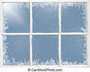 ventana, resistido, helado