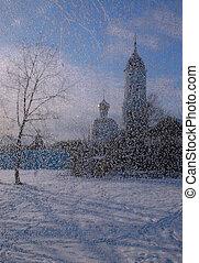 ventana, thru, vista, helado, iglesia