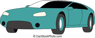 ventana trasera, azul, aislado, vector, ilustración