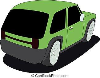ventana trasera, verde, aislado, vector, ilustración