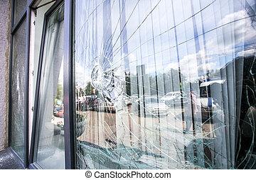 ventana, vidrio, roto